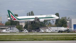 In this photo taken on Sunday, May 5, 2019, an Alitalia plane takes off from Sofia airport, Bulgaria.
