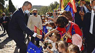 König Felipe mit Angela Merkel im spanischen Yuste