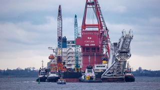 """Russian pipe-laying vessel """"Fortuna"""" in the port of Wismar, Germany"""