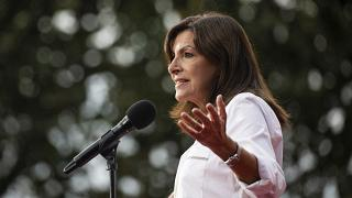 Mayor of Paris Anne Hidalgo speaks to the audience at the Global Citizen Live concert in Paris Saturday, Sept. 25, 2021.