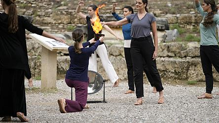 Flame rehearsal in Greece for Beijing Winter Games