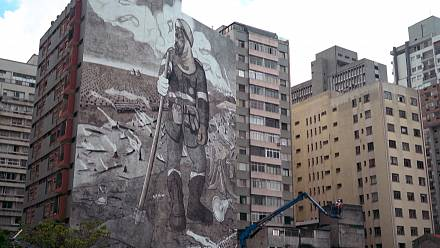 Brazil: a mural made with the ashes of the Amazon