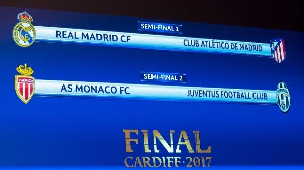 Champions, Monaco-Juve il 3 e 9 maggio