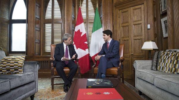 Gentiloni, visione comune con Canada