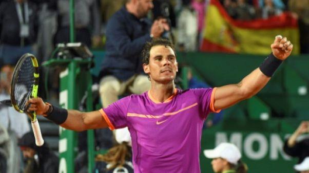 """Tennis: Nadal a vue sur la """"Decima"""" à Monte-Carlo, Pouille en demie"""