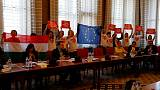 Silent protesters block Hungarian parliamentary committee