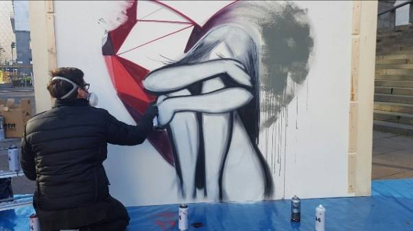 Opera street artist in Tribunale Milano
