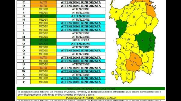 Caldo:scatta allarme incendi in Sardegna