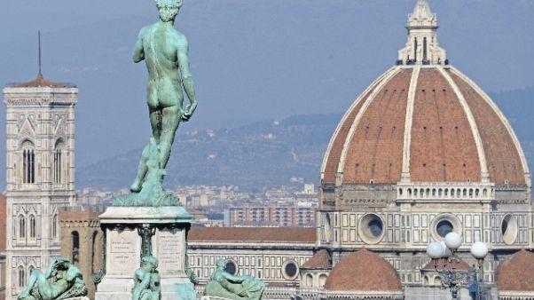 Uomo sale su impalcatura Duomo Firenze