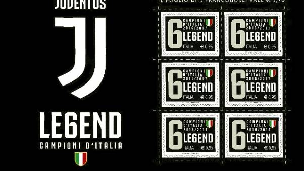 Nuovo logo Juve su francobollo scudetto