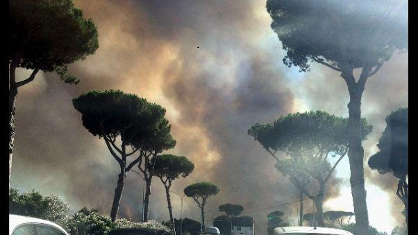 Rogo a Castelfusano, fiamme in più punti