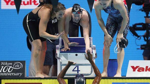 U.S. set world record to win women's 4x100 metres medley relay