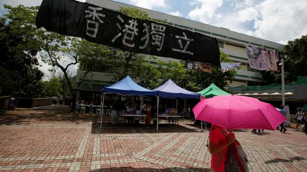 Pro-independence from China posters appearing on Hong Kong campuses stoke new tension
