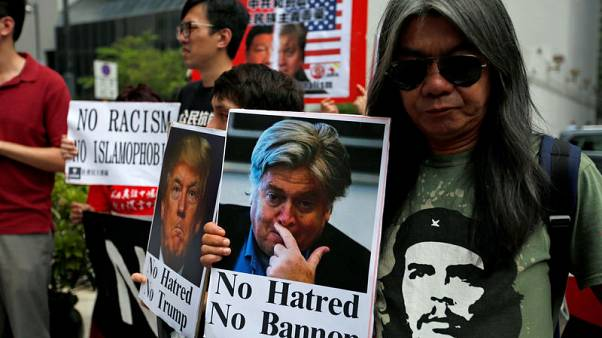 Protest greets former Trump adviser Bannon at Hong Kong investor event