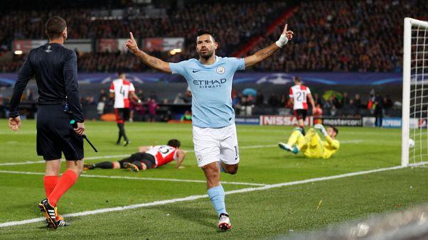 Aguero reaches goals milestone as City thrash Feyenoord