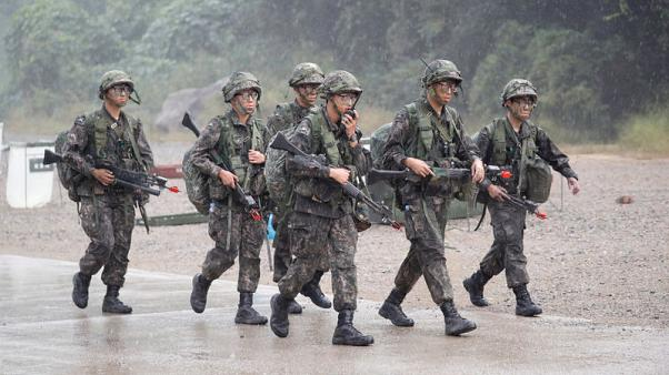 U.S., South Korea troops stage mock battle to retake village near North Korean border