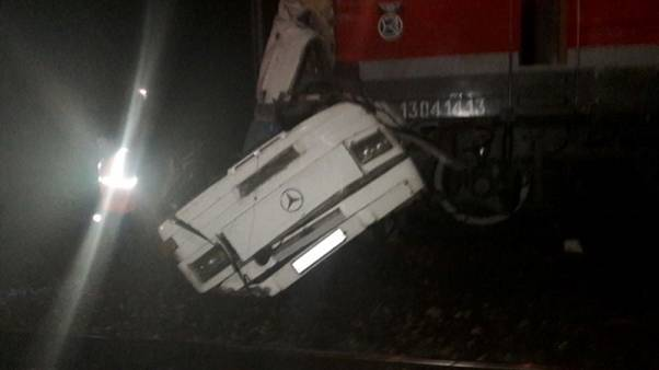 Sixteen people die in passenger bus hit by train in Russia