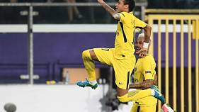Neymar fête son but pour le PSG face à Anderlecht, le 18 octobre 2017 à Bruxelles