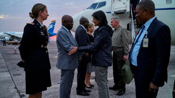 U.S. envoy Haley makes emotional visit to Congo displaced camp