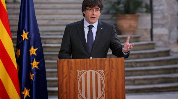 Catalonia's Puigdemont to speak at 1130 GMT in Brussels - lawyer