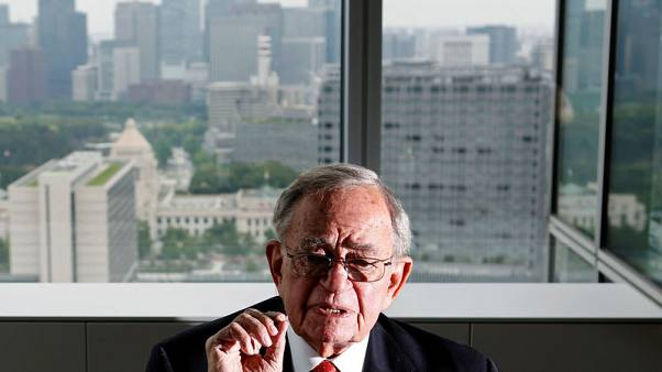 FILE PHOTO : Chicago Mercantile Exchange (CME) group's Chairman Emeritus Leo Melamed speaks during an interview with Reuters in Tokyo June 30, 2014.  REUTERS/Yuya Shino/File Photo