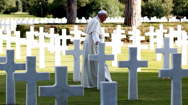 Pope, at U.S. military cemetery, makes emotional anti-war address