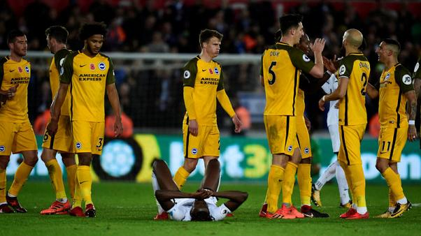 Brighton hand Swansea third successive league defeat