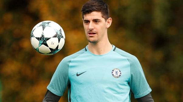 FILE PHOTO - Soccer Football - Chelsea Training - Cobham Training Centre, London, Britain - October 17, 2017   Chelsea's Thibaut Courtois during training   Action Images via Reuters/John Sibley