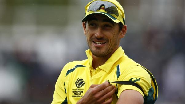 FILE PHOTO - Britain Cricket - Australia v Bangladesh - 2017 ICC Champions Trophy Group A - The Oval - June 5, 2017 Australia's Mitchell Starc (L) at the end of the innings Action Images via Reuters / Peter Cziborra