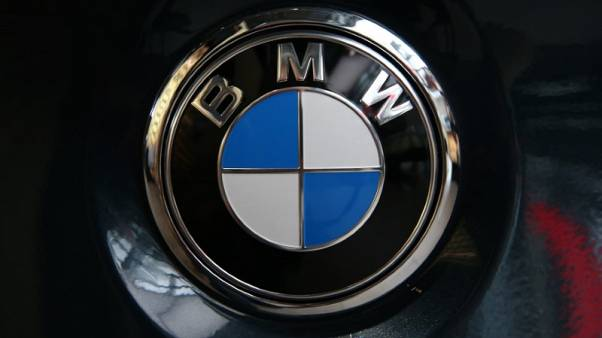 FILE PHOTO - The logo of BMW before the company's annual news conference in Munich, southern Germany, March 21, 2017.   REUTERS/Michael Dalder