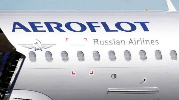 The logo of Russia's flagship airline Aeroflot is seen on an Airbus A320 in Colomiers near Toulouse, France, September 26, 2017. REUTERS/Regis Duvignau