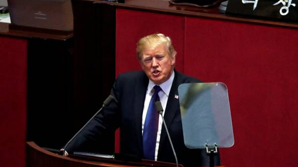 U.S. President Donald Trump speaks at the South Korean National Assembly in Seoul, South Korea, November 8, 2017. REUTERS/Jonathan Ernst