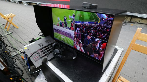 FILE PHOTO - Soccer Football - Bundesliga - Bayer Leverkusen vs Cologne - BayArena, Leverkusen, Germany - October 28, 2017.  General view of the Video Assistant Referee equipment before the match.  REUTERS/Wolfgang Rattay