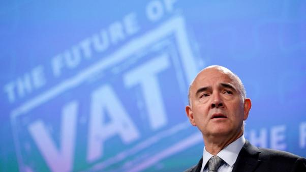 European Economic and Financial Affairs Commissioner Pierre Moscovici presents a VAT reform proposal during a news conference at the EU Commission's headquarters in Brussels, Belgium October 4, 2017. REUTERS/Francois Lenoir