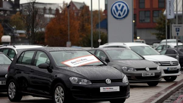 FILE PHOTO: Volkswagen cars are parked outside a VW dealership in London, Britain November 5, 2015.  REUTERS/Suzanne Plunkett/File Photo