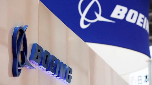 FILE PHOTO - Boeing's logo is seen during Japan Aerospace 2016 air show in Tokyo, Japan, October 12, 2016.   REUTERS/Kim Kyung-Hoon/File Photo