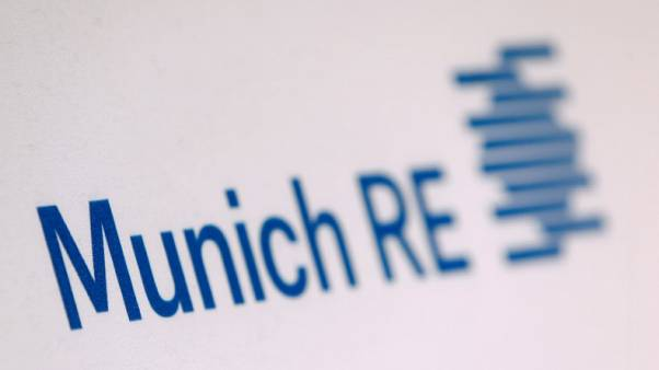 FILE PHOTO - The company logo of German reinsurer Munich Re is seen before the company's annual news conference in Munich, Germany, March 16, 2016.  REUTERS/Michaela Rehle/File Photo