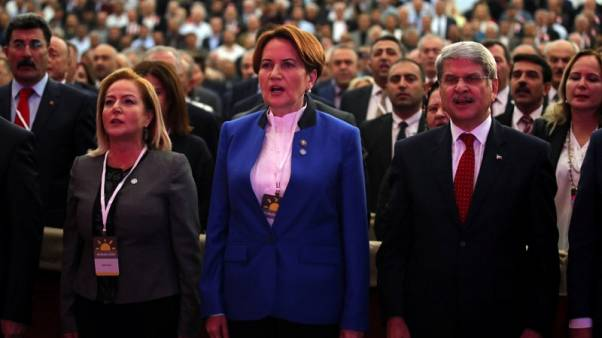 Meral Aksener, a former Turkish interior minister and deputy parliament speaker, is pictured during a meeting to announce her new political party in Ankara, Turkey, October 25, 2017. REUTERS/Umit Bektas - RC1FA93E9940