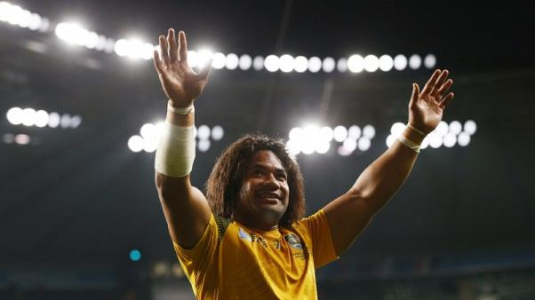 Rugby Union - Australia v Wales - IRB Rugby World Cup 2015 Pool A - Twickenham Stadium, London, England - 10/10/15 Australia's Tatafu Polota Nau celebrates at the end of the game Reuters / Stefan Wermuth Livepic