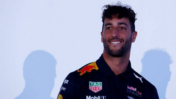 FILE PHOTO: Red Bull Formula One driver Daniel Ricciardo of Australia, reacts during a private event ahead of the Mexican F1 Grand Prix in Mexico City, Mexico, October 25, 2017. REUTERS/Carlos Jasso