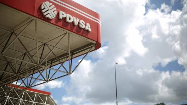 The corporate logo of the state oil company PDVSA is seen at a gas station in Caracas, Venezuela, August 30, 2017. REUTERS/Andres Martinez Casares