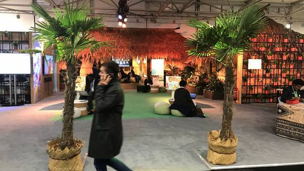 Typical Fiji huts and palm trees are displayed during the COP23 UN Climate Change Conference 2017, hosted by Fiji but held in Bonn, Germany November 9, 2017. Picture taken November 9, 2017.  REUTERS/Alister Doyle