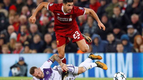 Soccer Football - Champions League - Liverpool vs NK Maribor - Anfield, Liverpool, Britain - November 1, 2017   Liverpool's Emre Can in action with NK Maribor's Dino Hotic    REUTERS/Phil Noble