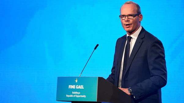 Minister for Foreign Affairs and Trade in Ireland Simon Coveney speaks on stage during the Fine Gael national party conference in Ballyconnell, Ireland November 10, 2017. REUTERS/Clodagh Kilcoyne