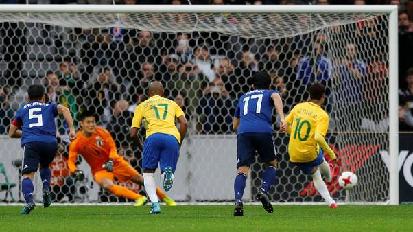 Soccer Football - International Friendly - Brazil vs Japan - Stade Pierre-Mauroy, Lille, France - November 10, 2017   Brazil's Neymar scores their first goal from the penalty spot    REUTERS/Pascal Rossignol
