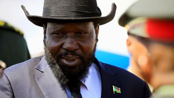 FILE PHOTO: South Sudan's President Salva Kiir Mayardit reacts upon arrival at Khartoum airport, Sudan November 1,2017. REUTERS/Mohamed Nureldin Abdallah/File Photo