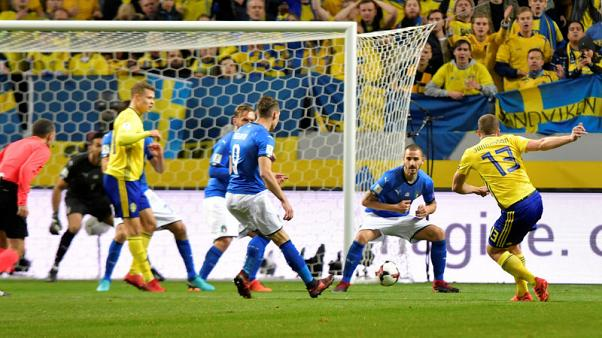 Soccer Football - 2018 World Cup Qualifiers - Sweden v Italy - Friends Arena, Stockholm, Sweden - November 10, 2017. Sweden's Jakob Johansson scores for 1-0. TT News Agency/Anders Wiklund via REUTERS