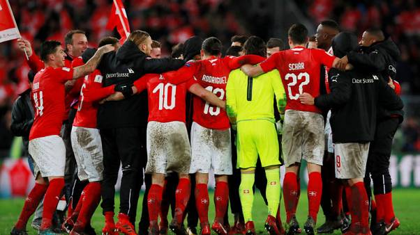 Soccer Football - 2018 World Cup Qualifications - Europe - Switzerland vs Northern Ireland -  St. Jakob-Park, Basel, Switzerland - November 12, 2017   Switzerland players celebrate after the match   Action Images via Reuters/Jason Cairnduff