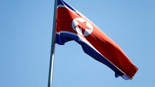 The flag of North Korea is seen in Geneva, Switzerland, June 20, 2017. REUTERS/Pierre Albouy