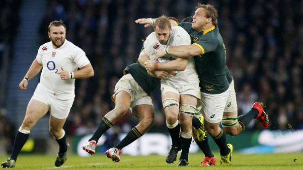 FILE PHOTO - Rugby Union - England v South Africa - QBE International - Twickenham Stadium - 15/11/14  Chris Robshaw of England  and Coenie Oosthuizen of South Africa in action  Mandatory Credit: Action Images / Paul Harding  Livepic